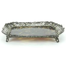 English Hallmarked Sterling Silver Victorian Tortoiseshell Tray