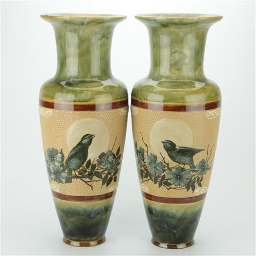 Florence E Barlow Doulton Lambeth Pair of Vases