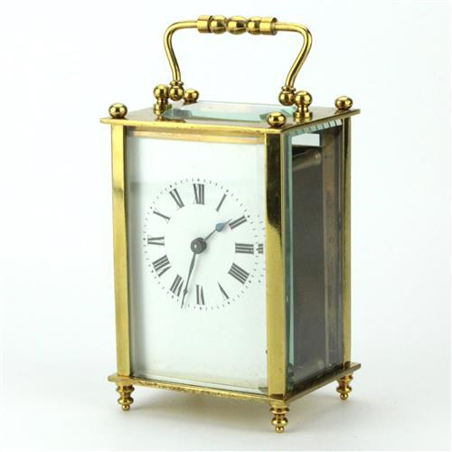 French Brass Carriage Clock with Travel Case