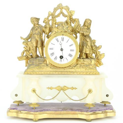 French Gilded Brass Mantle Clock