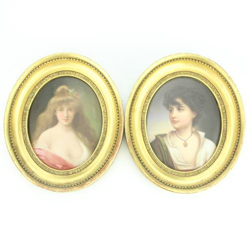 German Porcelain Pair of Plaques of Young Lady & Boy