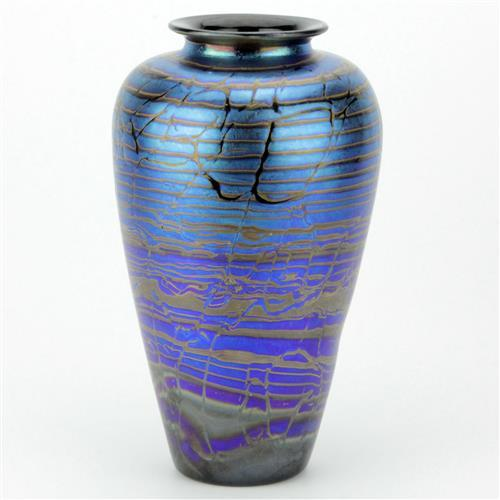 Iridescent Blue Art Glass Vase by Robert Wynne