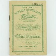 Phar Lap Cup Day Victoria Racing Official Programme 1932