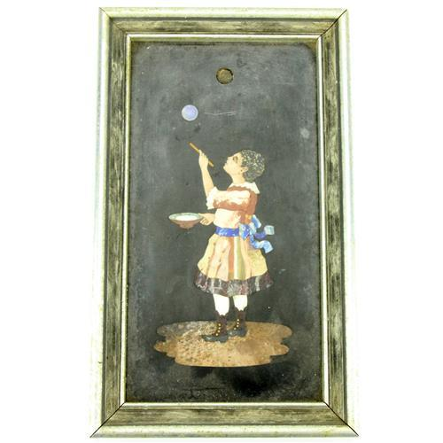 Pietra Dura Plaque of a Girl Blowing Bubbles