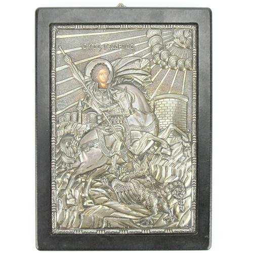 Russian Silver 950 Standard Icon of Saint George