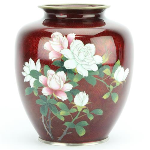 Sato Cloisonne Gimbari Red Ground Vase