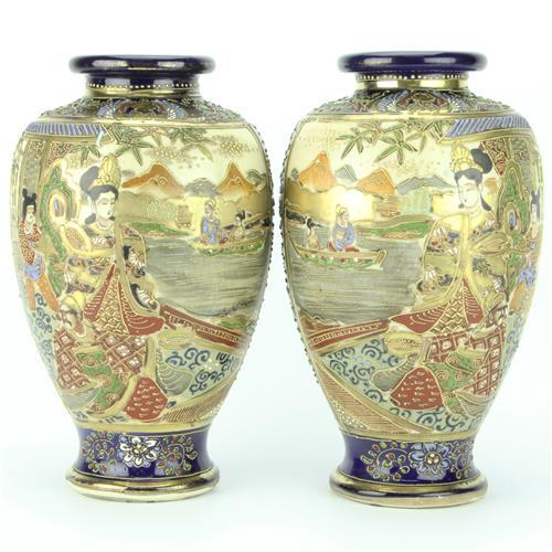 Satsuma Tubelined Pair of Vases