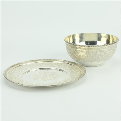 Persian Silver 840 Silver Bowl & Dish