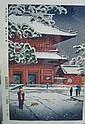 Shiro Kasamatsu - Main Gate of Zozoji Temple 40 x 27cm