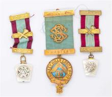 THREE MASONIC BREAST & LAPEL JEWELLS BY BLASHKI; two with 3 sterling gilt bars and mother of pearl symbolic drops, other with two 9c...