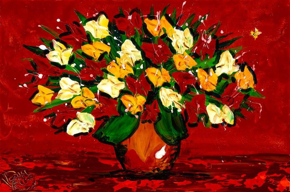 DEAN VELLA (1958 - ) Flowers & Bee oil and acrylic on canvas 59.5 x 89.5 cm (frame: 90 x 121 x 6 cm) signed lower left