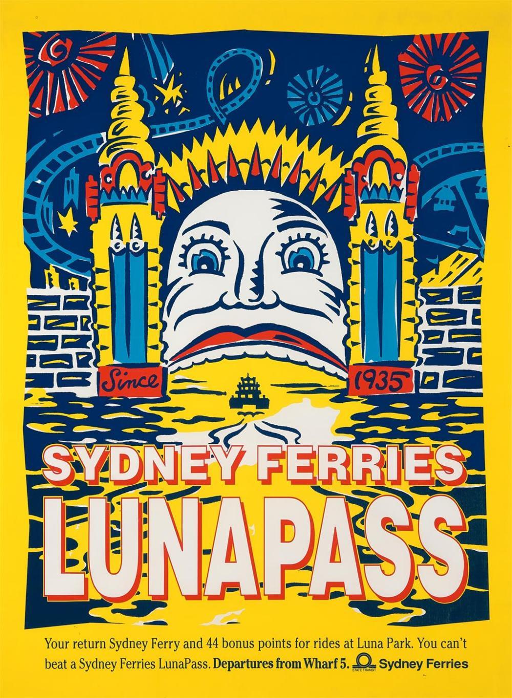 MARTIN SHARP (1942 - 2013) Luna Pass Ferries poster 100 x 75 cm (frame: 102 x 77 x 2 cm) unsigned