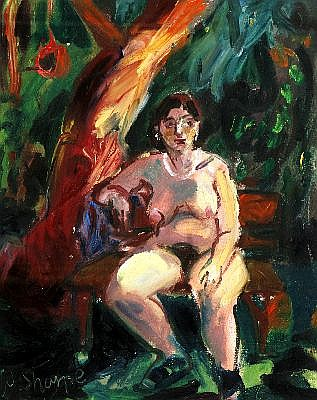 WENDY SHARPE (1960 - ) - Untitled (Sitting Nude) 52 x 42 cm