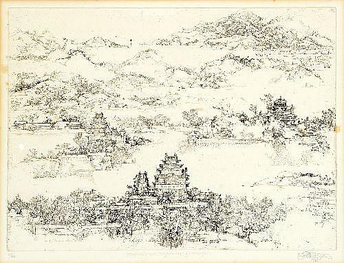 JORG SCHMEISSER (1942 - ) - Landscape with Temples 1970 26 x 36 cm
