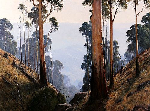 LEONARD LONG (1911 - ) - The Smoking Hills Wollondilly Valley at Bullio NSW, 1983 89 x 200 cm