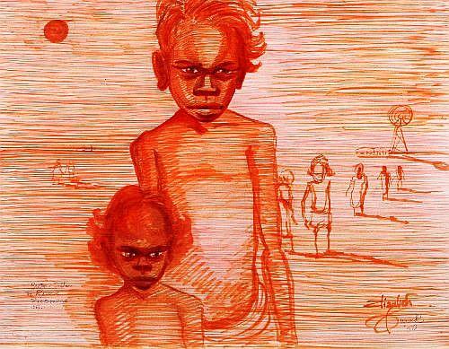 ELIZABETH DURACK (1915 - 2000) - Brother & Sister, The Reserve, Roebourne NT 45.5 x 58 cm