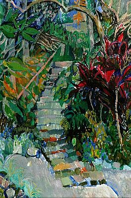 ELISABETH CUMMINGS (1934 - ) - The Garden Steps 90 x 59 cm