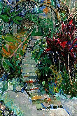 ELISABETH CUMMINGS (1934 - ) - The Garden Steps 90 x 59 cm