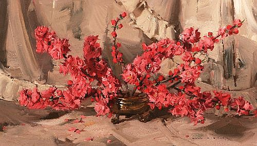 ALAN BAKER (1914 - 1987) - Peach Blossoms 40 x 70 cm