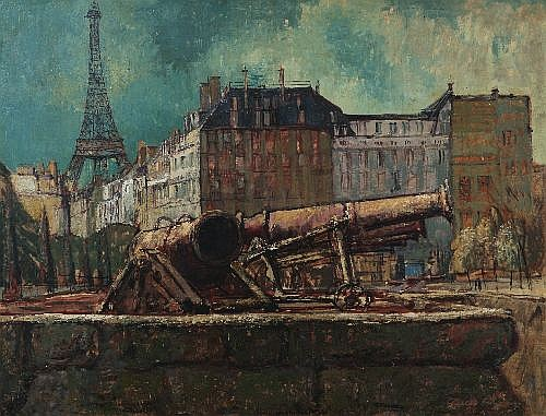 CHARLES BUSH (1919-1989) - Near Les Invalides 1952 67.5 x 87.5 cm