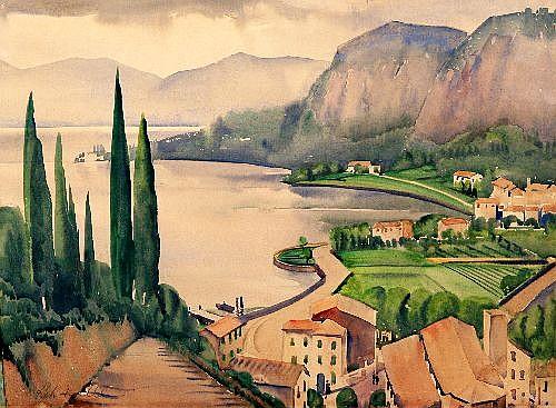 RAH FIZELLE (1891 - 1964) - Garda del Garda 30.5 x 41 cm