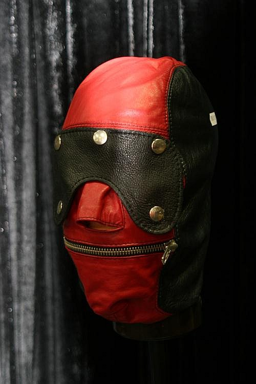 Red and Black hood on stand