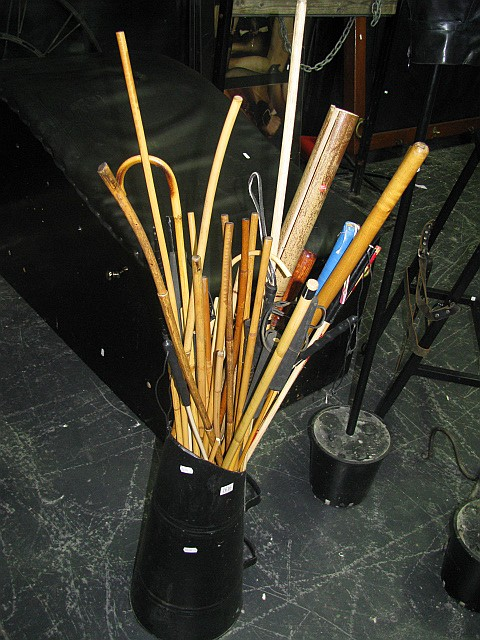 Coal scuttle full of bamboo canes