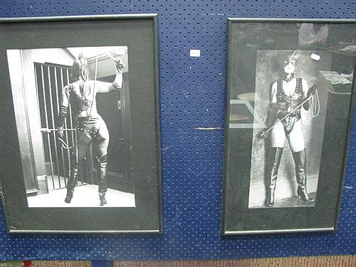 Two black and white photographs of a dominatrix