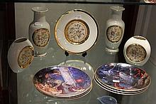 Set of Royal Doulton Dragon Collector Plates and Chokin Ware Vases and Plate