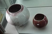 2 Chinese Copper Glaze Studio Pottery Pieces