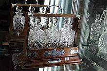 Oak & Silver Plated 3 Bottle Tantalus