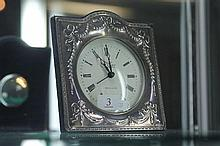 English Hallmarked Sterling Silver Clock by R Carr Clock Maker