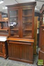 Late 19th Century Probably Blackwood Bookcase, with two glass & two timber panel doors