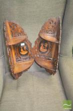 Pair of Italian Probably Olivewood & Marquetry Folding Corner Shelves, with pierced backs & peasant scenes (some repairs)
