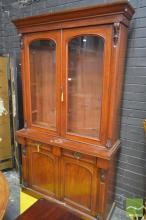Victorian Mahogany Bookcase, with two arched glass panel doors, above two drawers & two panel doors