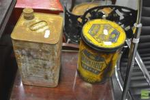 Pair of Oil Tins incl. Later Golden Fleece Example