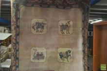 Chinese Brown Wool Carpet with Camel Medallions (287 x 182cm)