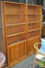 Pair of Pine Open Bookcases with Two Doors Below