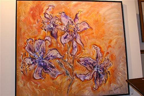 Ian Van Wieringen Flowers oil on canvas 118 x 134cm signed lower right: Van Wieringen