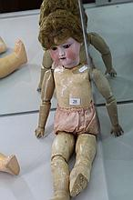 Early 20th Century Armand Marseille Bisque Headed Doll with Articulated Composition Doll, Marked to Head 390, new wig