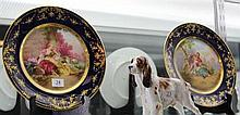 Pair of Painted Hutschenreuther Court Scene Plates with Gilt Border