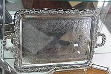 Silver Plated Tray with Shell and Grape Vine Decoration