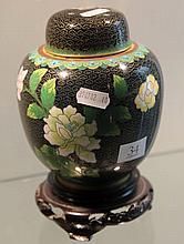 Cloisonne Lidded Jar on Stand