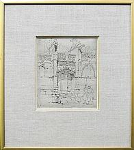 Charles J Watson (1846 - 1947) - Portico ( St Gilles Caen) 14 x12cm