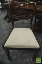 Set of Six Early 19th Century Mahogany Kidney Back Chairs, with cream diaper drop-in seats, on turned legs