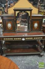 Fine 19th Century French Ebonised, Amboyna & Porcelain Mounted Bureau de Dame, with raised central mirrored section, flanked by two...