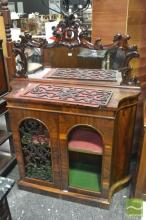 Early Victorian Rosewood Credenza, with carved mirror back & two arched pierced panel doors