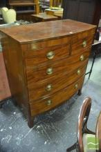 George III Mahogany Bow Front Chest of Five Drawers, on splayed bracket feet