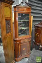 Late Victorian Inlaid Mahogany Corner Cabinet with Astragal Door and Paterae Door Below