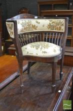 Late Victorian Inlayed Mahogany Corner Chair, with cut moquette upholstery